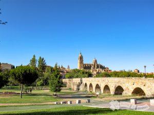 Catedral y Puente Romano sobre el Río Tormes